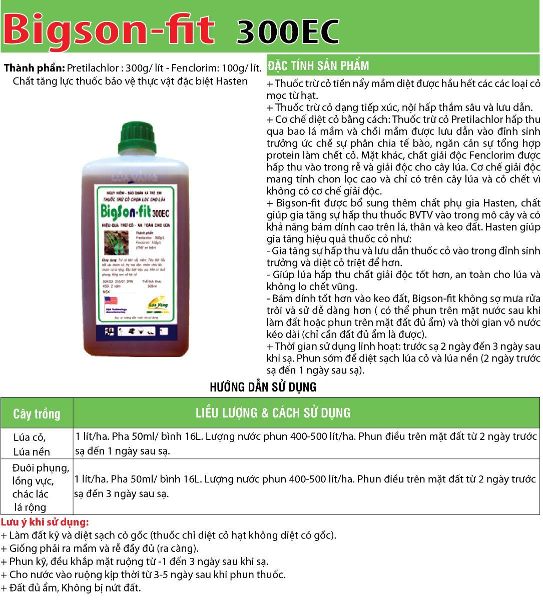 Thuốc cỏ lúa tiền nẩy mầm Bigson-fit 300EC