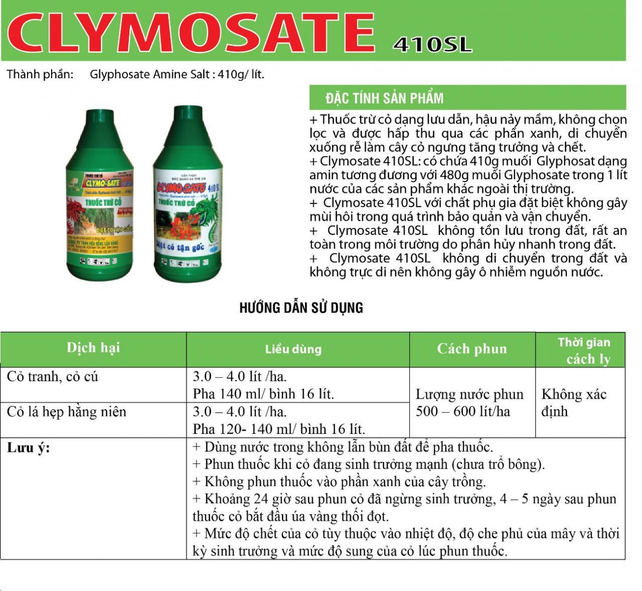 THUỐC CỎ KHÔNG CHỌN LỌC ĐẦU RỒNG CLYMOSATE 410SL