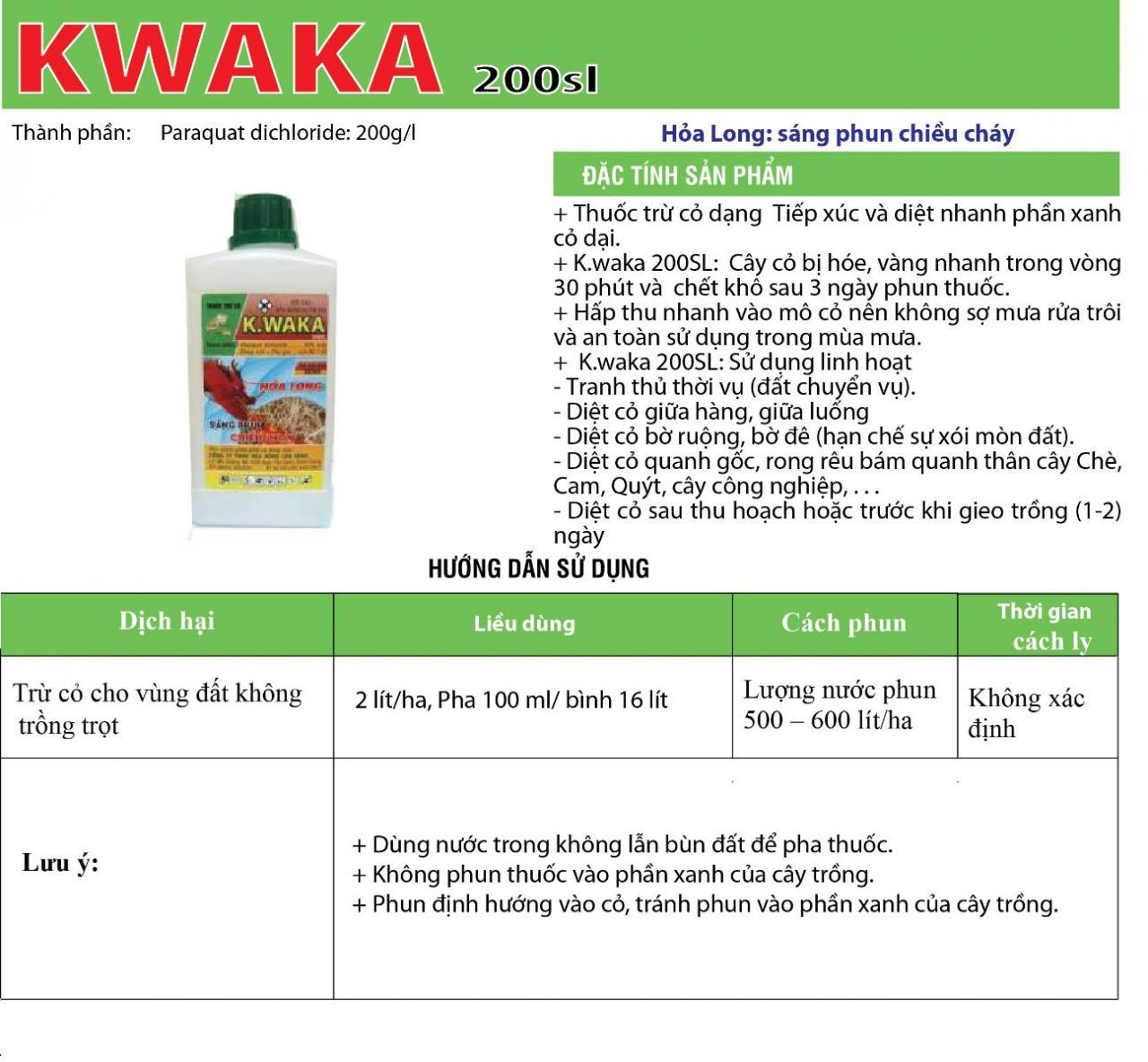 THUỐC CỎ CHÁY K-WAKA 200SL