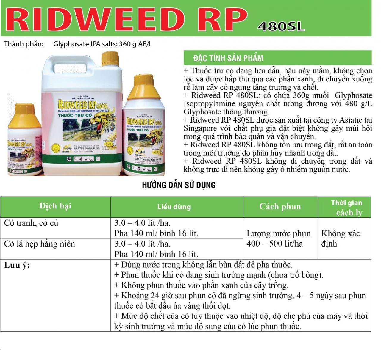 THUỐC TRỪ CỎ LƯU DẪN RIDWEED RP 480SL