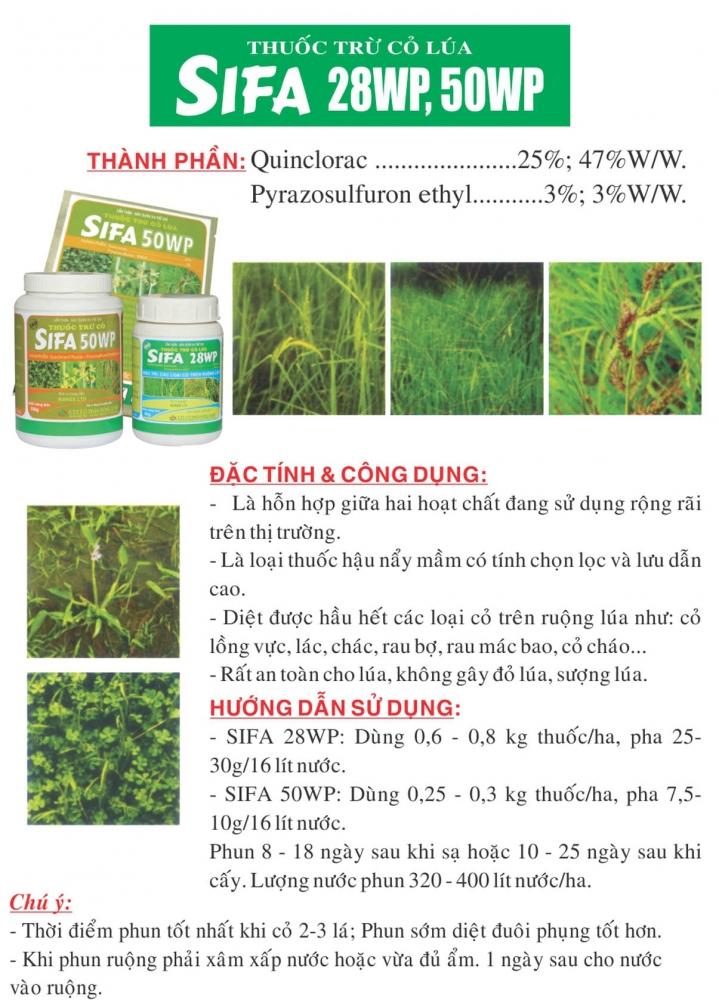 Thuốc cỏ lúa hậu nẩy mầm Sifa 28WP
