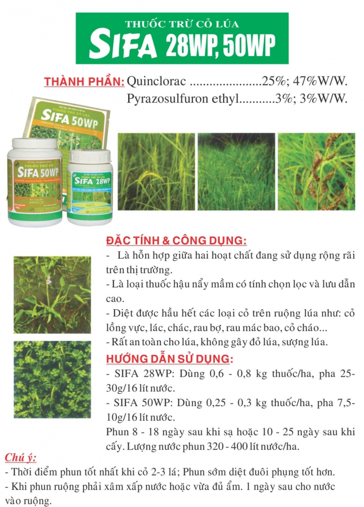 Thuốc cỏ lúa hậu nẩy mầm Sifa 50WP